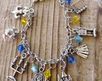 Beauty and the Beast Themed Silver Charm and Crystal Bracelet