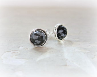 Snowflake Obsidian Stud Earrings, Sterling Silver Stud Earrings, Wire Wrapped Posts,Natural Stone Studs, Wire Wrap Studs,Black Stud Earrings