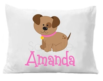 Pink Puppy Dog Personalized Pillow Case