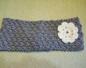 Headband, Ear Warmer, Knitted in Gray Yarn with Crochet Cream Colored Flower