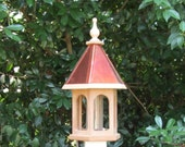 Handcrafted unfinished Wood Bird feeder with copper roof