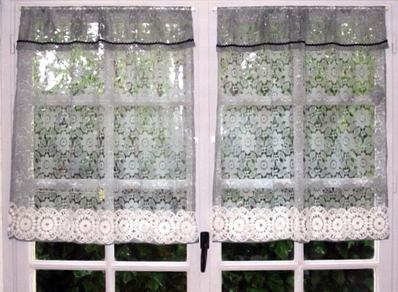 Grey Cafe Curtains, Pair Kitchen Curtains, Lace Curtains, Sheer Curtains,  Cottage Curtains