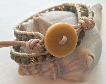 On SALE!!   Green & Tan Jasper Leather Wrap Bracelet