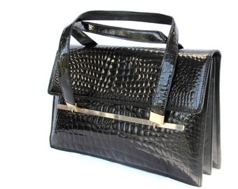 Edele, French Vintage, 1950s Black Crocodile Leather Envelope Handbag, from Paris