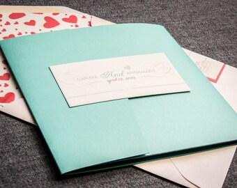 Coral and Aqua Invitations,  Destination Wedding Invitations, Pocketfold Invitations, Romantic Flourish - Pocketfold, No Layers, v2 - SAMPLE
