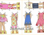 Summer Line Paper Doll Outfits Clothes Clip art - Printable - Instant Download Lily and Thistle Paper Doll Shop