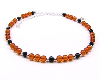 Baltic Amber & Jet Sterling Silver Necklace - N693B