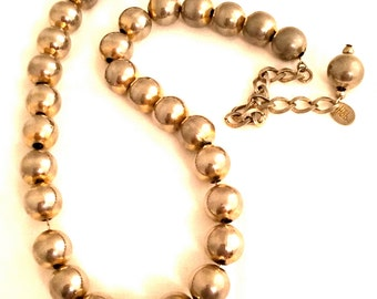 HOBE Beaded Necklace Silver Chain Metal Two Tone Dimensional Authentic Vintage Jewelry Designer Hallmarked Marked Signed Stamped Collectible