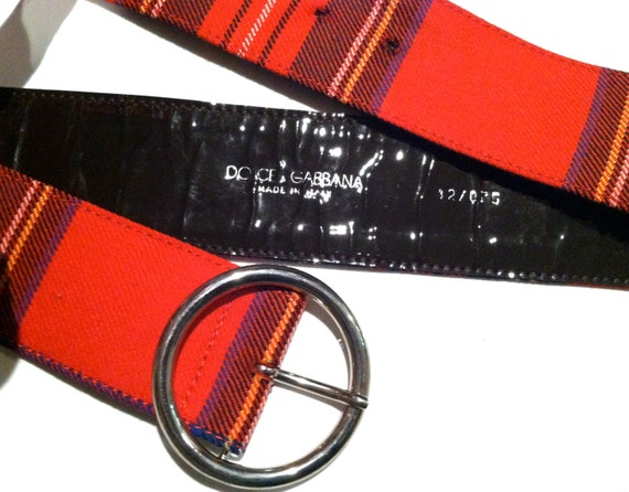 DOLCE GABBANA designer Italian Genuine Runway Authentic D&G Plaid Red Black Designer Belt Made in Italy couture designer Sale deal