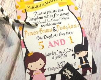 Princess and Pirate Printable Invitation Design