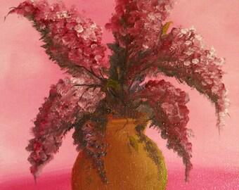 "Original Oil Still Life ""Fresh Lilacs"" on 7"" x 9"" Canvas Handmade Hand-painted"
