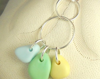 GENUINE Sea Glass Necklace With Rare Blue Green Yellow Milk Glass Sea Glass Jewelry Geometric Circle Pendant