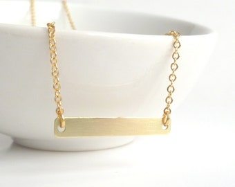 Gold Bar Necklace - simple minimalist flat rectangle link pendant in brass on gold-plated delicate chain - Modern Trendy Celebrity Style