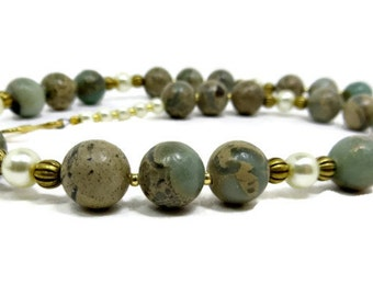 Impression Jasper, White Pearl, and Gold Fluted Bead Necklace