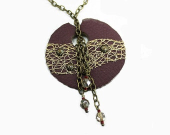 Dark Red Round Modern Leather Necklace - Gold  Fabric - Antique Brass - Seed Beads - Czech Glass Beads - Women's Accessories - Hand Sewn