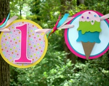Double Scoop Ice Cream 1st Birthday Highchair Banner MADE TO ORDER