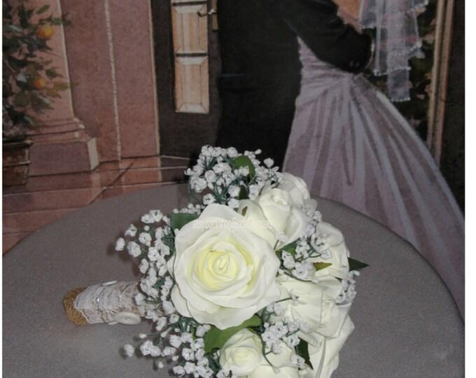 New Country Chic Burlap Bridal Bouquet, Burlap Wedding Bouquet, Baby's Breath Bouquet, Rose and Baby's Breath Bouquet