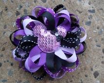 Disney Hair Bow Purple Mickey Mouse Hair Bow Minnie Mouse Hair Bow Loopy Flower Hair Bow Zebra Hair Bow