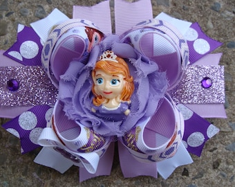 Princess Sofia Hair Bow Large Hair bow Boutique hair bow Sofia the First hair bow