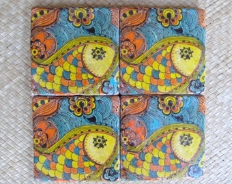 TILE COASTERS handmade- Fish coasters orange yellow with original artwork-set of 4