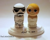 Wedding Cake Topper / Custom Painted Wood Peg Dolls with Plaque / Kokeshi Groom and Bride