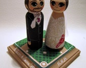 Wedding Cake Topper / Custom Painted Wood Peg Dolls/ Couple with Fully Custom Plaque/ Sports fan