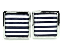Navy Stripe Cufflinks - Nautical Themed Gifts for Him - Navy Cufflinks