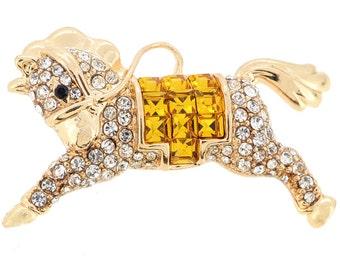 Golden Horse Crystal Pin Brooch 1011541