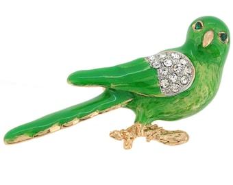 Green Parrot Bird Pin Brooch 1003861