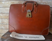 Vintage Leather Briefcase or Attache Case 1950's or 60s