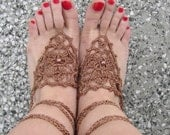 Lovely crocheted silk barefoot sandals in brown, brown pearls