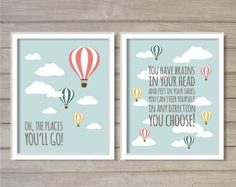 Oh, the Places You'll Go! -Set of 2, 8x10 - Hot Air Balloon Instant Download Digital Printable Nursery Decor Wall Art Poster Print
