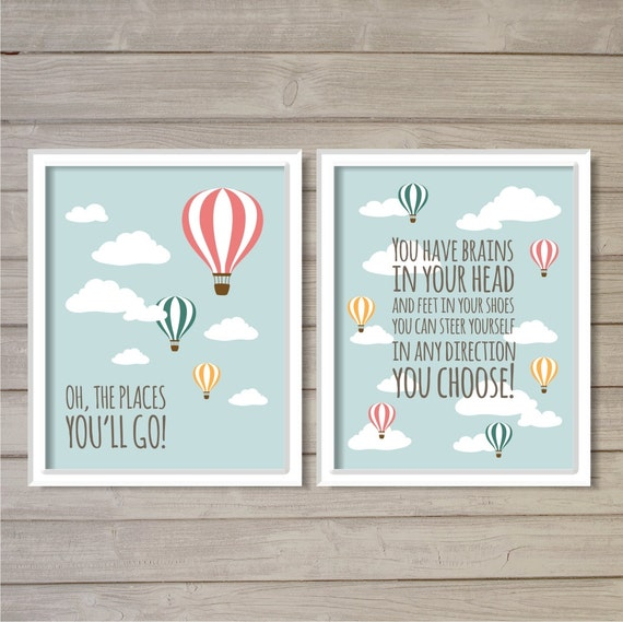 Oh The Places You Ll Go Set Of 2 8x10 Dr Seuss Hot