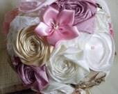 Fabric flower Bouquet, Wedding Bouquet, Vintage Wedding, Wedding Flowers, Satin Flowers, Shabby Chic Wedding, Bridal Bouquet