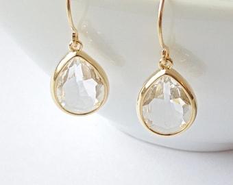Clear glass earrings. Bridal tear drop dangle earrings. French wire earrings. Bridal earrings. Bridesmaids. Wedding jewelry.