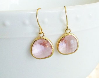 Pink earrings Pink glass earrings Pink dangle earrings Pink drop earrings Blush earrings Bridesmaid earrings Bridal earrings Wedding jewelry