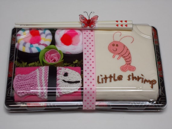 Baby Sushi & Bodysuit Gift Set - Little Shrimp - Great Baby Shower Gift