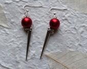 Red Satin & Spike Earrings