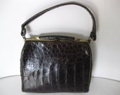 Lesco Alligator Embossed Leather Handbag-Purse-1950's