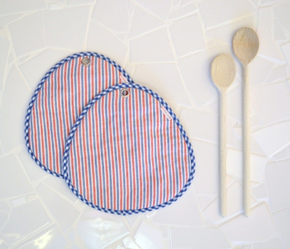 hot pads - red, blue and white striped potholders - naval beach house hostess gift - large kitchen potholders - nautical - oven trivets