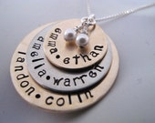 Fran Custom order for a Large Family Custom Stacked  Name Necklace in Bronze and Silver with a Matte Finish