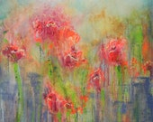 """Abstract impressionist painting of summer flowers in the city, 24 X 30, with bright, modern color, titled """"Urban Blooming"""", by Aquagirl Art"""