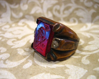 Vintage Gawdy Brass Ring with Red Celluloid Intaglio and Paste Stones
