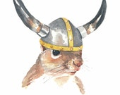 Viking Squirrel Watercolor - 5x7 PRINT, Viking Helmet, Funny Watercolour, Squirrel Art