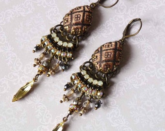 black copper india drop earrings with silk brocade and rhinestone