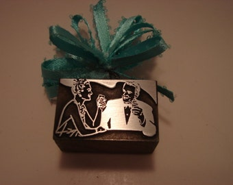 Letterpress Printers Block - A Man & Women Having A Drink Together