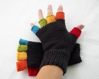 Rainbow Hand Knit Half Finger GLOVES in Peruvian SOFT WOOL / Colorful Fun Gift idea