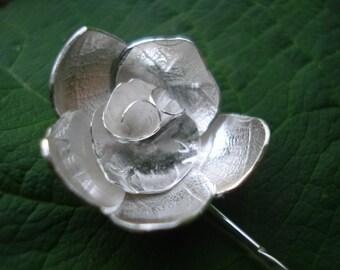 Rose flower brooch; Handmade, sterling silver