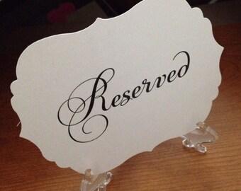 5 or 10 Fancy Reserved Sign, bracket sign, vintage sign, Victorian sign, wedding signs