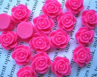 Hot Pink Resin Flower Cabochon 12 mm